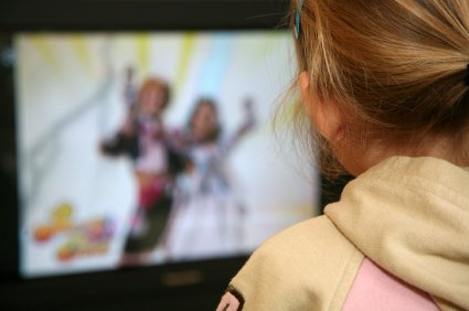 young child watching tv