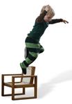Frame chair boy jumping