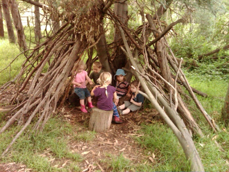 stick fort with few kids
