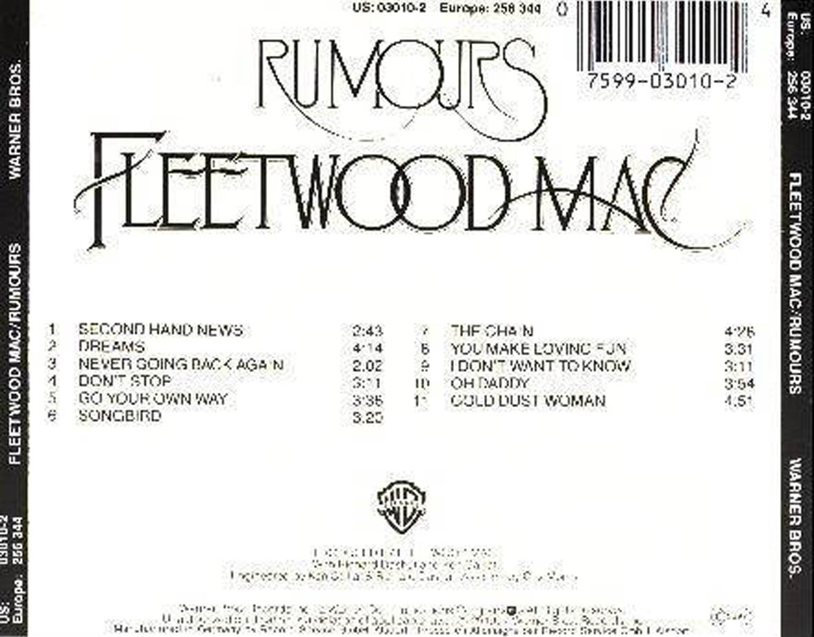 Fleetwood Mac Rumours Trasera