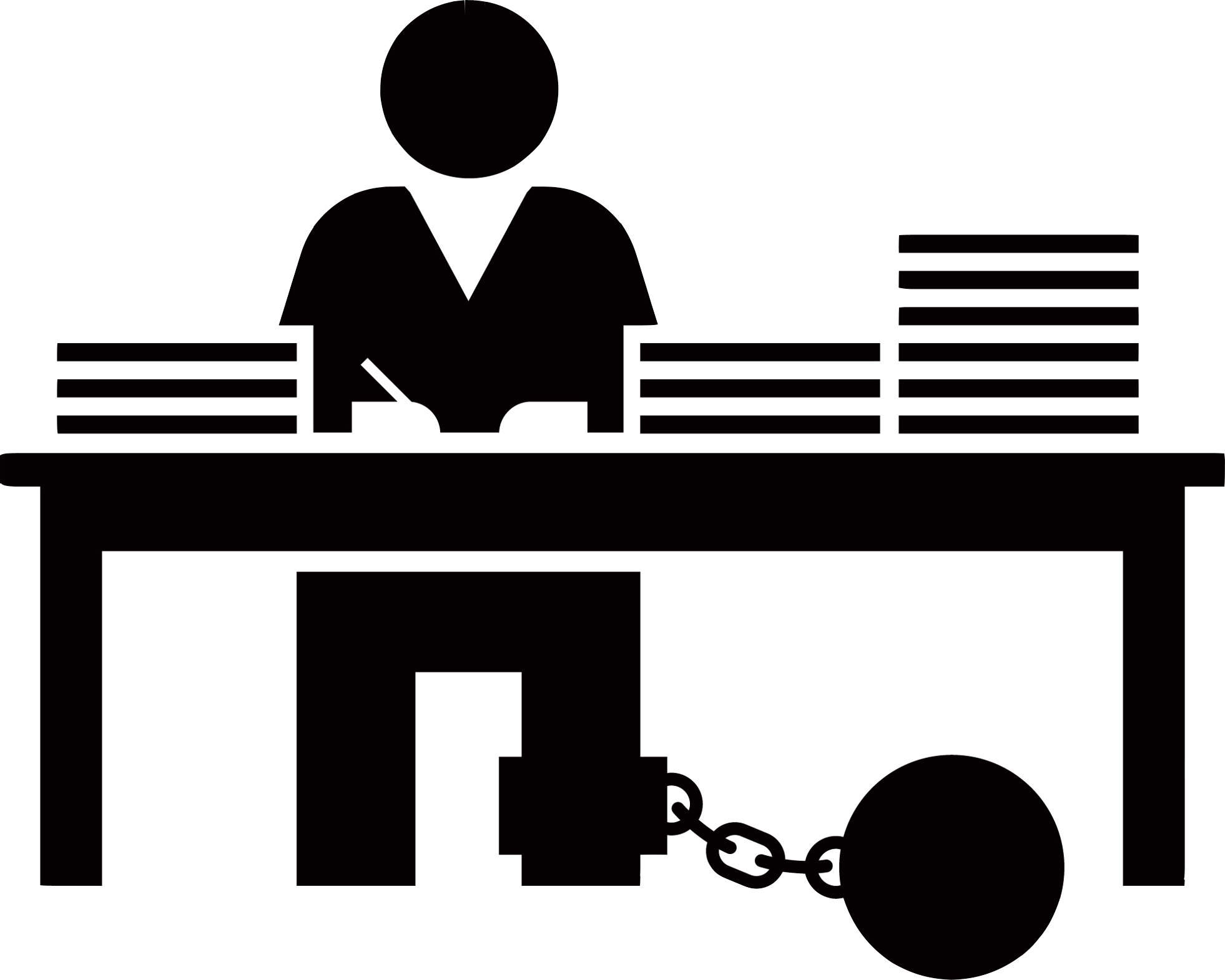 person chained to desk